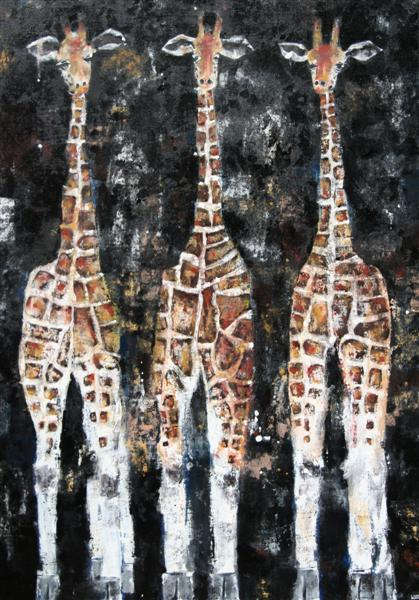 Nighttime_Giraffes65x92cm