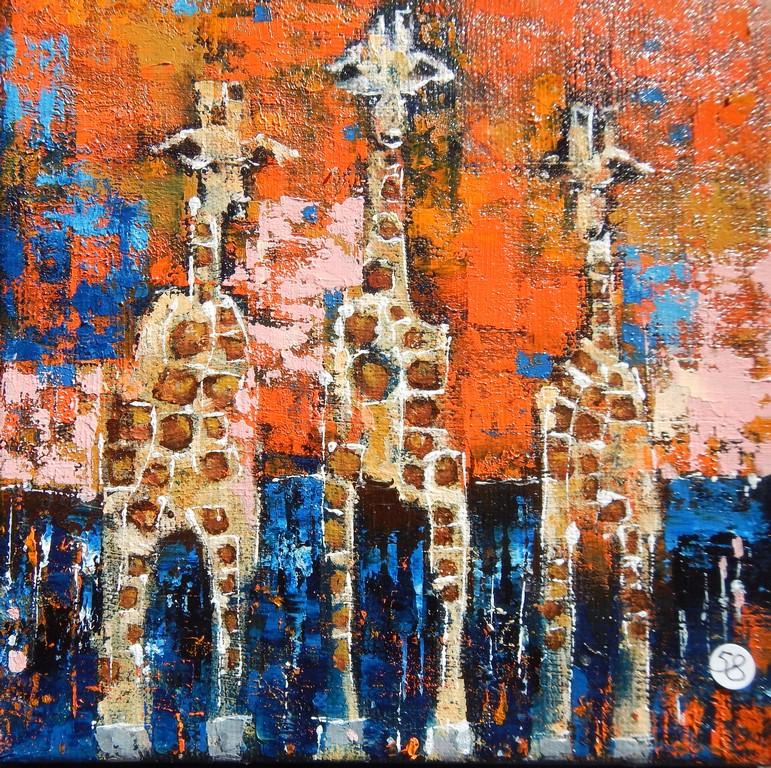 sunny giraffes15x15cm